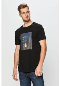 Czarny t-shirt John Frank casualowy, z nadrukiem, na co dzień