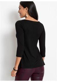 Shirt z drapowaniem bonprix czarny. Kolor: czarny. Długość rękawa: długi rękaw. Długość: długie