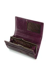 Wittchen - Damski portfel ze skóry lakierowany poziomy. Kolor: fioletowy. Materiał: lakier, skóra