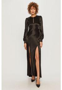 Czarna sukienka TwinSet rozkloszowana, z długim rękawem, maxi
