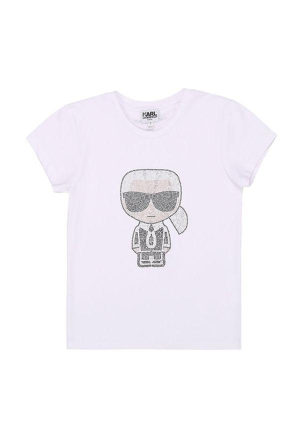 Biała bluzka z krótkim rękawem Karl Lagerfeld na co dzień, casualowa, krótka