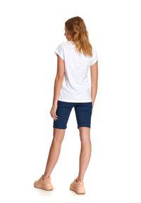 Biały t-shirt DRYWASH casualowy, na wiosnę, krótki, na co dzień