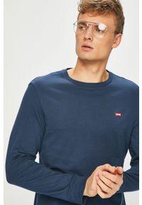 Niebieska koszulka z długim rękawem Levi's® z okrągłym kołnierzem, na spotkanie biznesowe