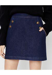 Marella - MARELLA - Jeansowa spódnica mini Kafir. Okazja: na co dzień. Kolor: niebieski. Materiał: jeans. Wzór: aplikacja. Styl: elegancki, casual