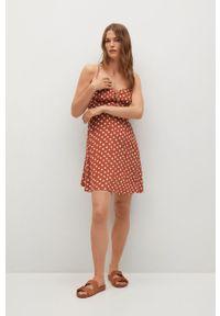mango - Mango - Sukienka NIKI. Kolor: pomarańczowy. Materiał: włókno, materiał. Długość rękawa: na ramiączkach. Typ sukienki: rozkloszowane