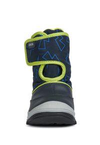 Niebieskie buty zimowe Geox z okrągłym noskiem, na zimę, na rzepy, z cholewką
