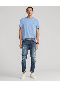 Ralph Lauren - RALPH LAUREN - Niebieski t-shirt Custom Fit Soft Cotton. Typ kołnierza: polo. Kolor: niebieski. Materiał: bawełna. Wzór: haft, kolorowy #3
