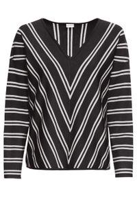 Czarny sweter bonprix w paski, z dekoltem w serek