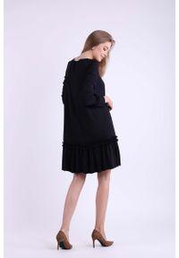 Nommo - Czarna Subtelna Sukienka z Obniżoną Talią. Kolor: czarny. Materiał: bawełna, poliester
