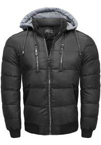 Czarna kurtka przejściowa Recea na zimę, z kapturem