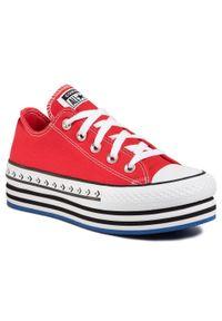 Czerwone półbuty na koturnie Converse casualowe, na co dzień, z cholewką