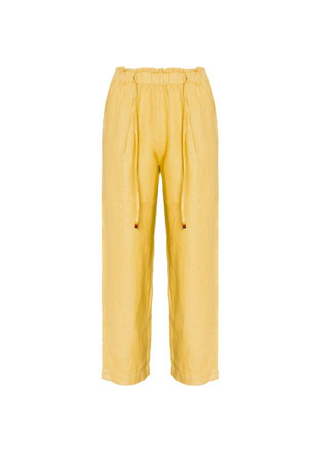 Deha - Spodnie lniane DEHA EXPRESSION. Kolor: żółty. Materiał: len. Wzór: aplikacja. Sezon: lato. Styl: klasyczny