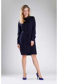 Nommo - Granatowa Koszulowa Sukienka z Paskiem. Kolor: niebieski. Materiał: wiskoza, poliester. Typ sukienki: koszulowe