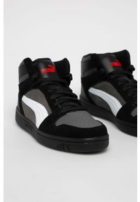 Czarne sneakersy Puma na sznurówki, z okrągłym noskiem, z cholewką