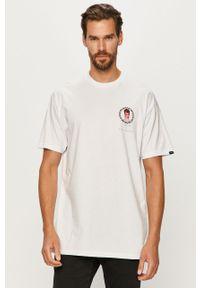 Biały t-shirt Vans na co dzień, z okrągłym kołnierzem, z nadrukiem, casualowy