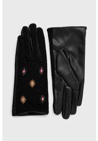 Desigual - Rękawiczki. Kolor: czerwony. Materiał: dzianina