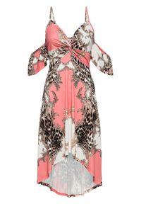Sukienka letnia z dłuższym tyłem bonprix jasnoróżowo-biały w cętki leoparda. Kolor: różowy. Sezon: lato