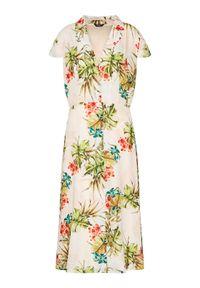 Beżowa sukienka letnia Marciano Guess prosta, casualowa, na co dzień