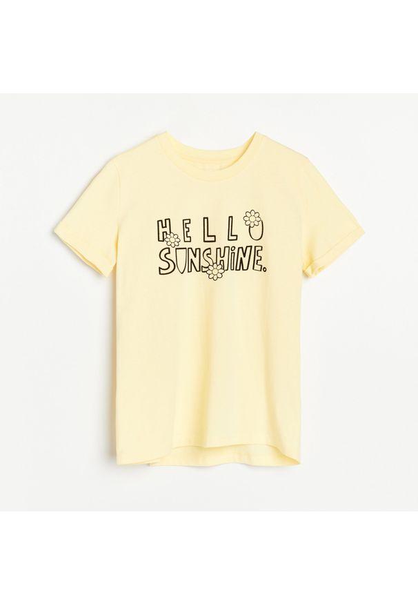 Reserved - Bawełniany T-shirt - Żółty. Kolor: żółty. Materiał: bawełna