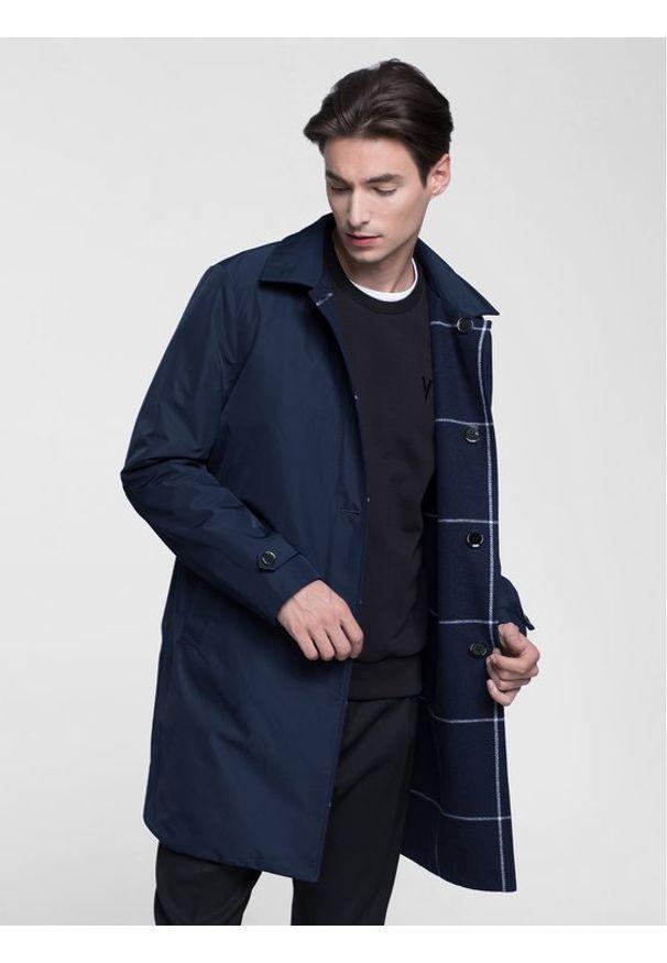 Niebieski płaszcz przejściowy