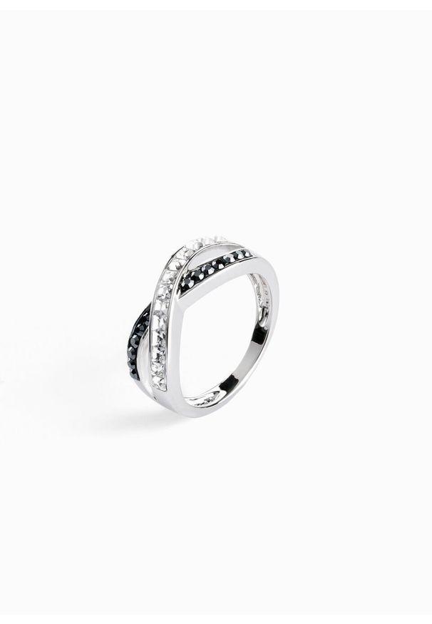 Pierścionek z kryształami Swarovskiego® bonprix srebrny kolor rodowany - czarny