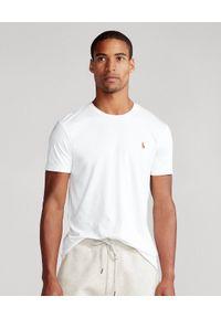 Ralph Lauren - RALPH LAUREN - Biały t-shirt Custom Slim Fit. Typ kołnierza: polo. Kolor: biały. Materiał: bawełna. Wzór: haft. Styl: klasyczny