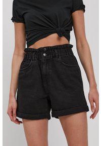 Vero Moda - Szorty jeansowe. Okazja: na co dzień. Stan: podwyższony. Kolor: czarny. Materiał: jeans. Wzór: gładki. Styl: casual