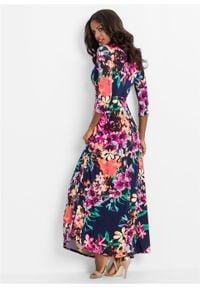Długa sukienka w kwiaty bonprix niebiesko-jasnoróżowy w kwiaty. Kolor: niebieski. Wzór: kwiaty. Sezon: lato. Długość: maxi #3