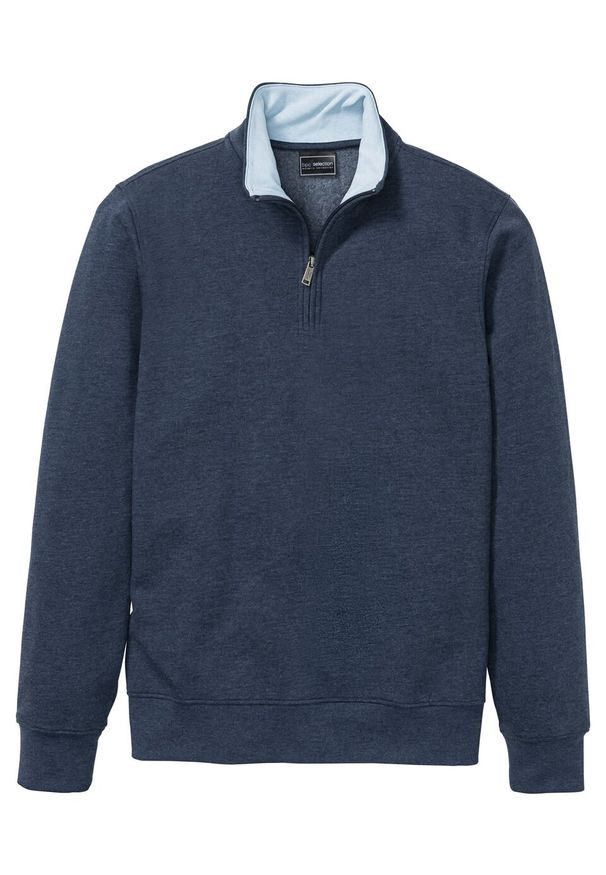 Niebieska bluza bonprix ze stójką, melanż