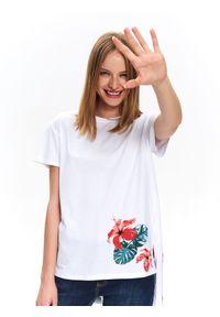 Biały t-shirt TOP SECRET na co dzień, na zimę, z krótkim rękawem, krótki