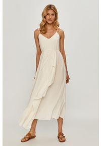 TwinSet - Twinset - Sukienka. Kolor: beżowy. Materiał: tkanina. Długość rękawa: na ramiączkach. Wzór: gładki. Typ sukienki: asymetryczne, rozkloszowane