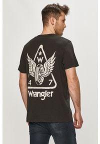 Czarny t-shirt Wrangler z nadrukiem