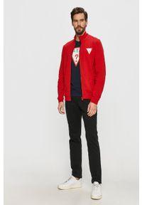 Guess - Bluza. Okazja: na co dzień. Kolor: czerwony. Wzór: aplikacja. Styl: casual