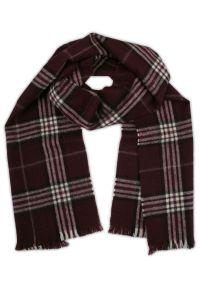 Czerwony szalik V. Fraas w kratkę, na zimę, elegancki