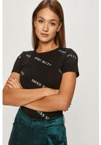 Czarna bluzka Miss Sixty na co dzień, z aplikacjami, casualowa