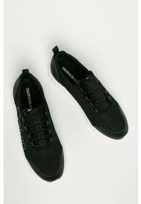 Czarne sneakersy Calvin Klein Jeans z okrągłym noskiem, z cholewką
