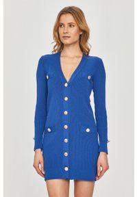 Pinko - Sukienka. Kolor: niebieski. Materiał: dzianina. Długość rękawa: długi rękaw. Wzór: gładki. Typ sukienki: dopasowane