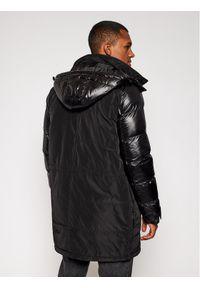 Czarna kurtka zimowa Karl Lagerfeld z dekoltem karo