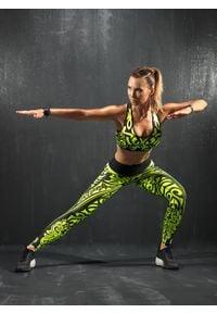 FJ! - Legginsy ETNO - limonka. Materiał: skóra, elastan, dzianina, poliester. Sport: fitness, joga i pilates, taniec