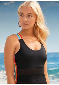 Kostium kąpielowy z przyjaznego dla środowiska materiału PRIDE bonprix czarny. Kolor: czarny. Materiał: materiał