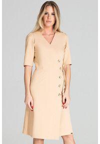 Beżowa sukienka Figl do pracy, midi, kopertowa