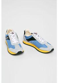 Niebieskie buty sportowe Calvin Klein Jeans na sznurówki, z okrągłym noskiem