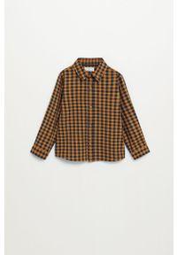 Pomarańczowa koszula Mango Kids długa, klasyczna, z długim rękawem