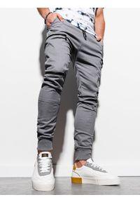 Ombre Clothing - Spodnie męskie joggery P997 - szare - XXL. Kolor: szary. Materiał: elastan, bawełna
