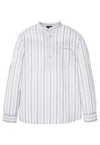 Biała koszula bonprix ze stójką, z długim rękawem