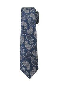 Alties - Granatowo-Szary Elegancki Krawat Męski w Paisley -ALTIES- 6 cm, Łezki. Kolor: niebieski. Materiał: tkanina. Wzór: paisley. Styl: elegancki