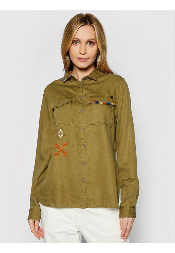 Superdry Koszula Military W4010154A Zielony Regular Fit. Kolor: zielony