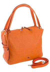 DAVID JONES - Shopper damski pomarańczowy David Jones CM5665A ORANGE. Kolor: pomarańczowy. Materiał: skórzane