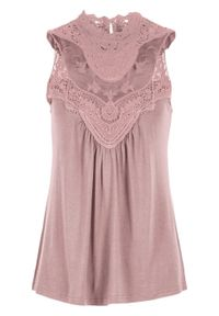 Różowy top bonprix elegancki, ze stójką