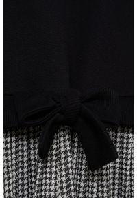 Czarna sukienka Mango Kids rozkloszowana, z długim rękawem, mini